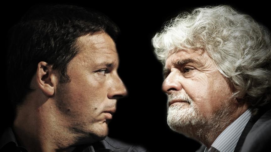 Matteo Renzi e Beppe Grillo