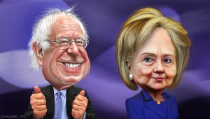 Sanders e Clinton visti da DonkeyHotey